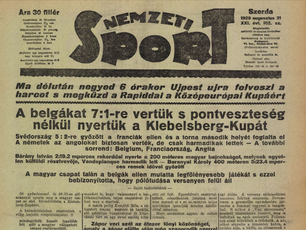 Híradás a Klebelsberg-Kupáról