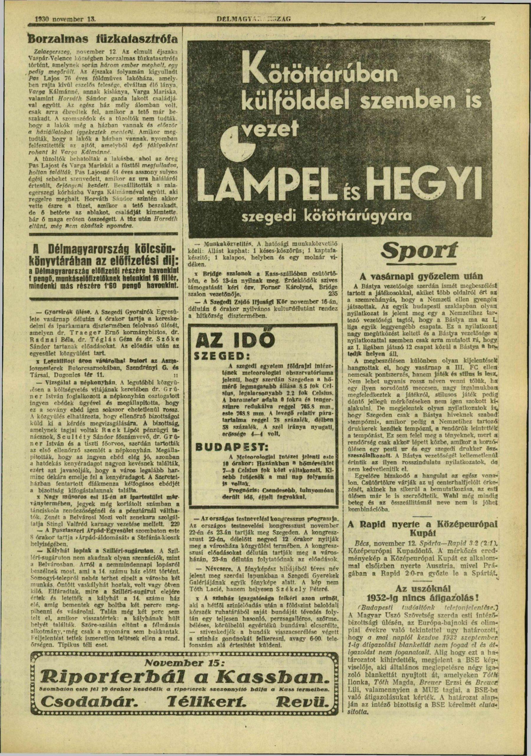 Délmagyarország, 1930. november, 115. oldal