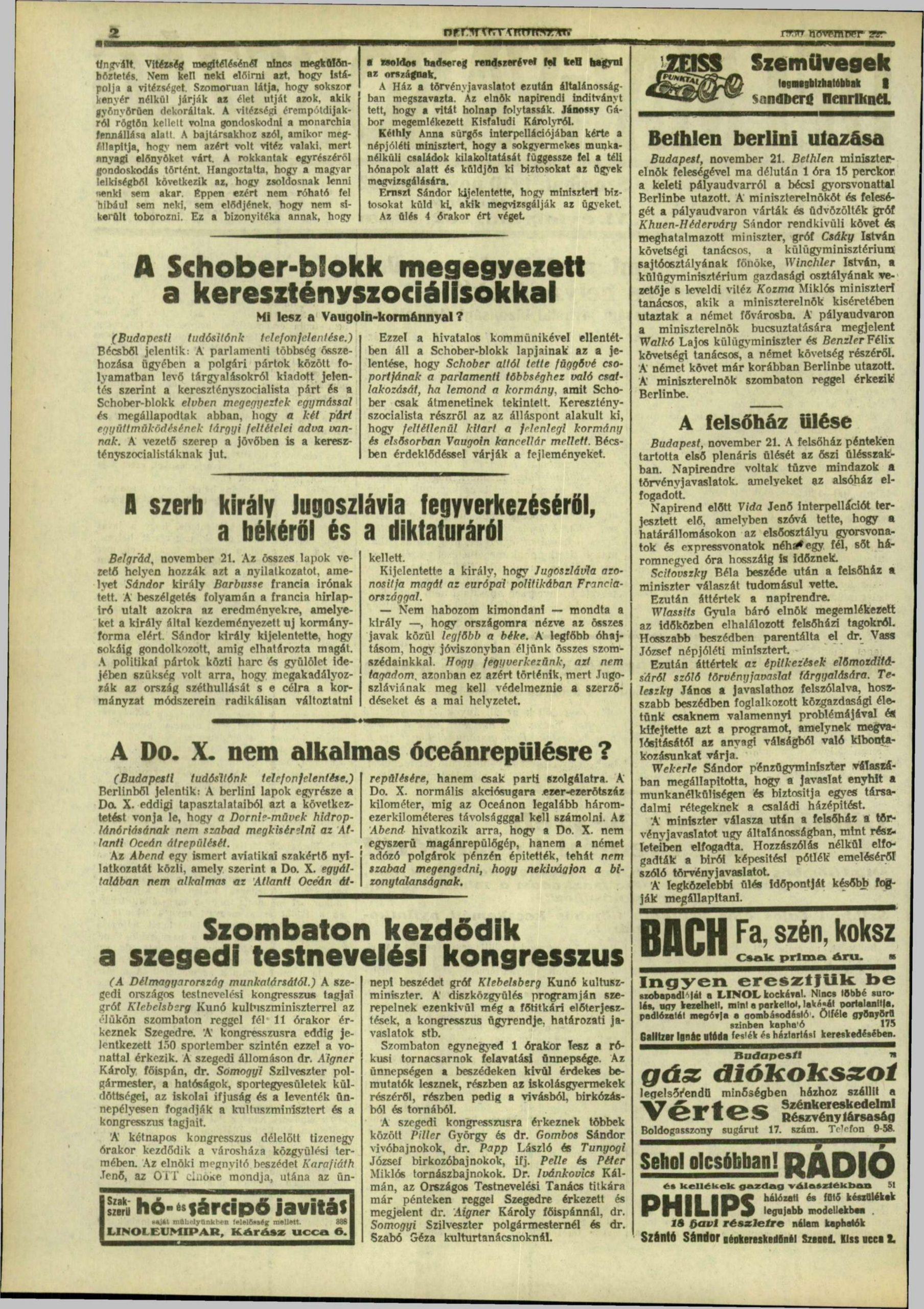 Délmagyarország, 1930. november, 190. oldal