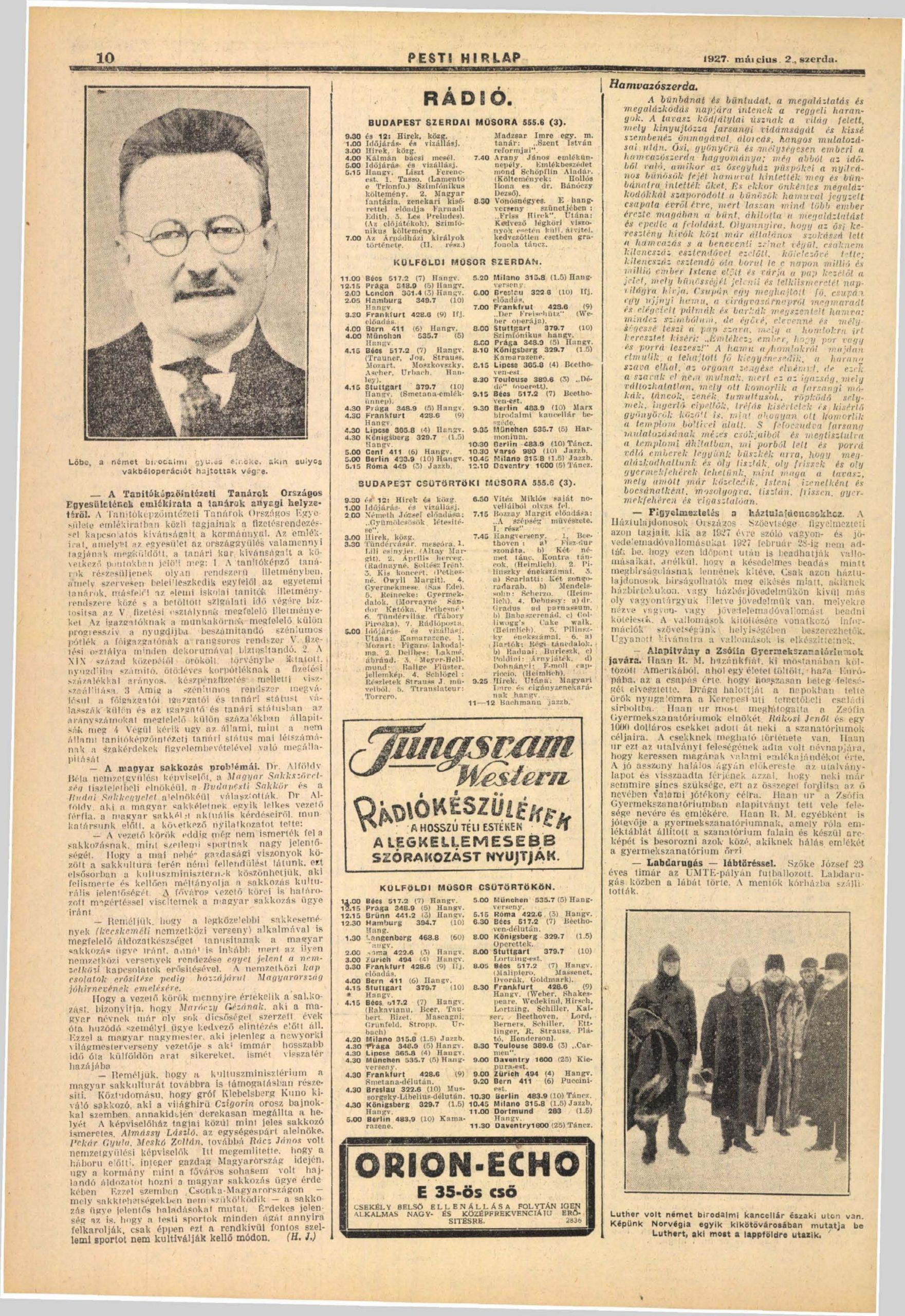 A magyar sakkozás problémái. In. Pesti Hírlap, 49. 1927. március 51.